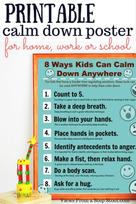 This printable poster is full of ways that kids can learn to calm down anywhere!