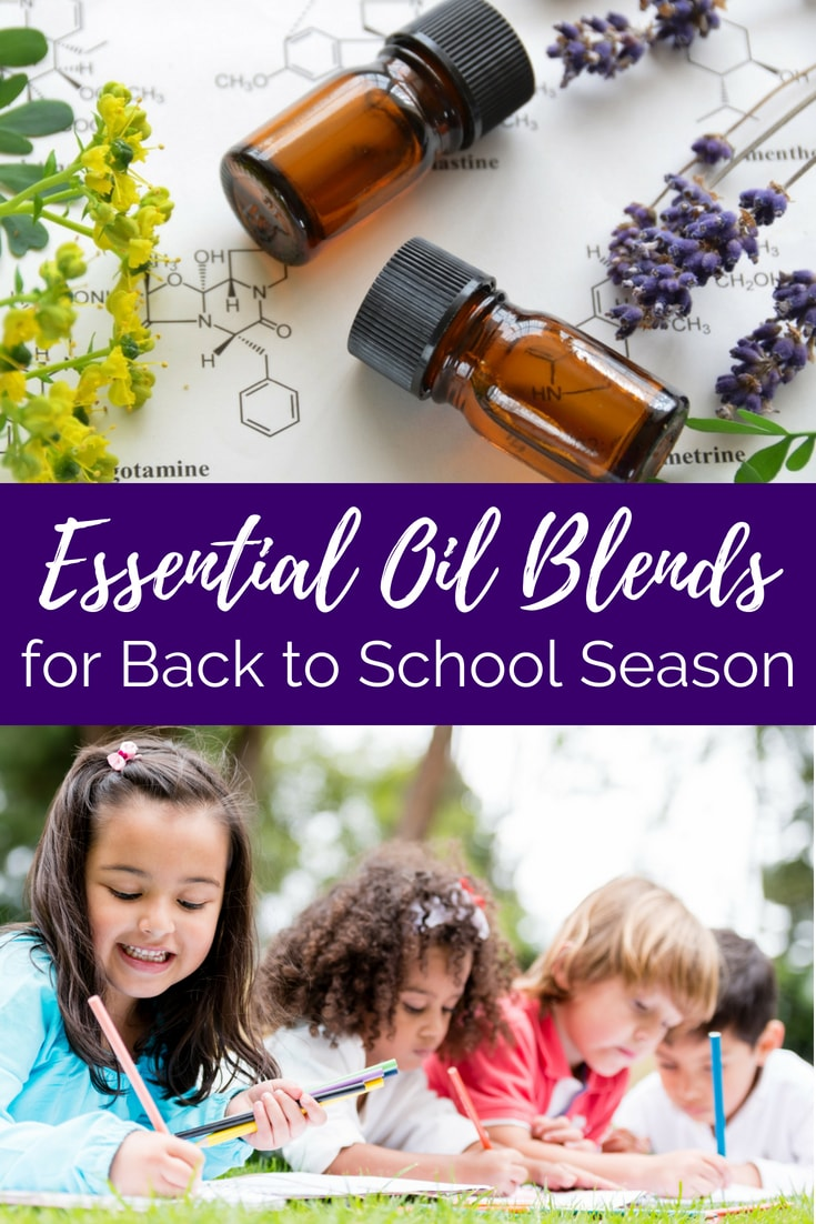 "essential oil bottles and kids working text overlay ""essential oil blends for back to school season"""