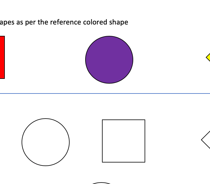 Color the shapes as per the reference shape