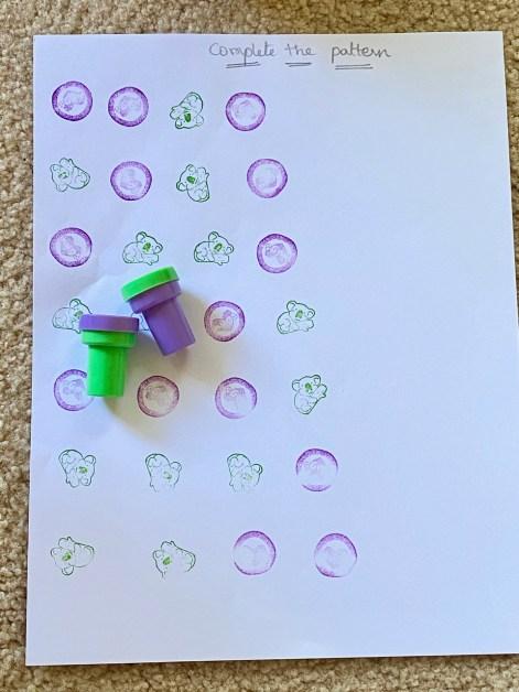 DIY pattern worksheets for preschoolers