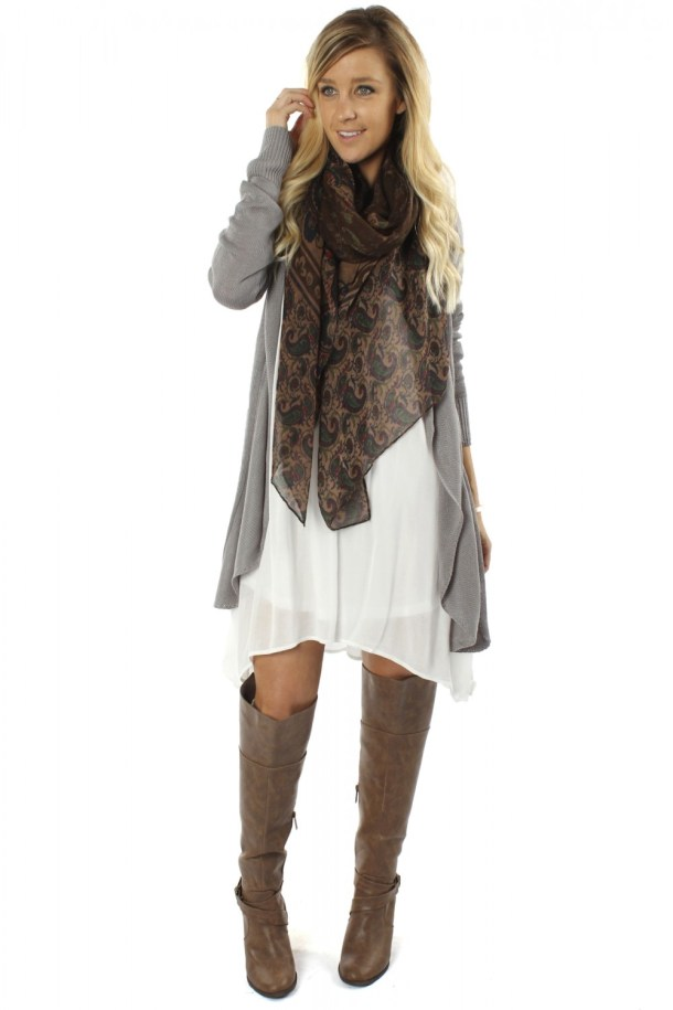"Slouchy Bohemian Outfits - ""Daycream Crochet Dress"" ($32.99), ""Crochet Back Cardigan"" ($32.99), ""Brown Paisley Scarf"" ($9.99) - sophieandtrey.com"
