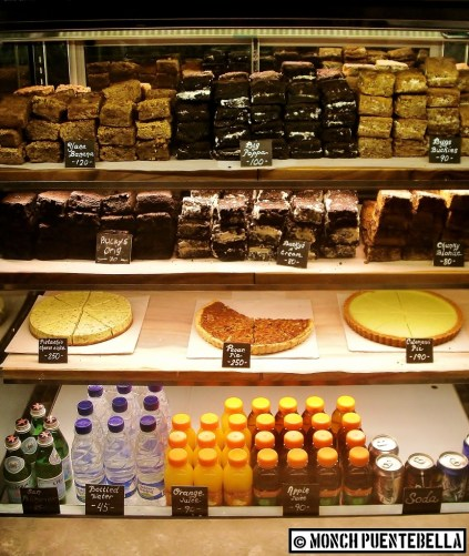The sweet stuff at Toby's Estate; see those brownies at the top shelf?