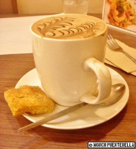 Cafe Mocha. I love how their coffees are served with a small toasted biscuit (seen to the left of the cup).