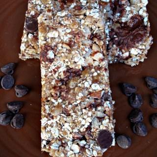 Granola bars on brown plate