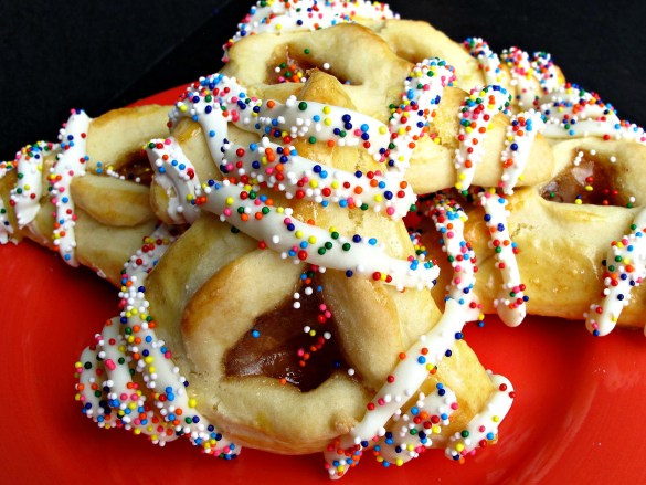 Hamantashen Pocket Cookies with strawberry jam center and sprinkles