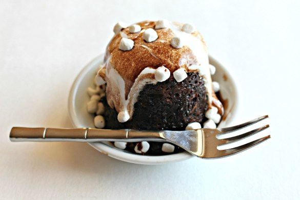 Hot Chocolate Mug Cake and fork in small white bowl