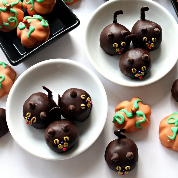 Peanut Butter Ball Pumpkins and Cats in small dishes