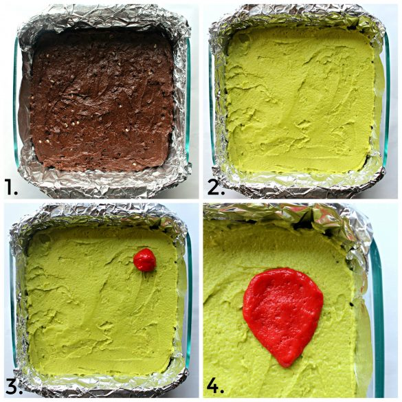 Steps 1-4 for making Grinch Brownies