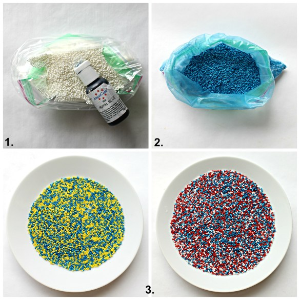 Three steps to turning white nonpareils into custom colored sprinkles