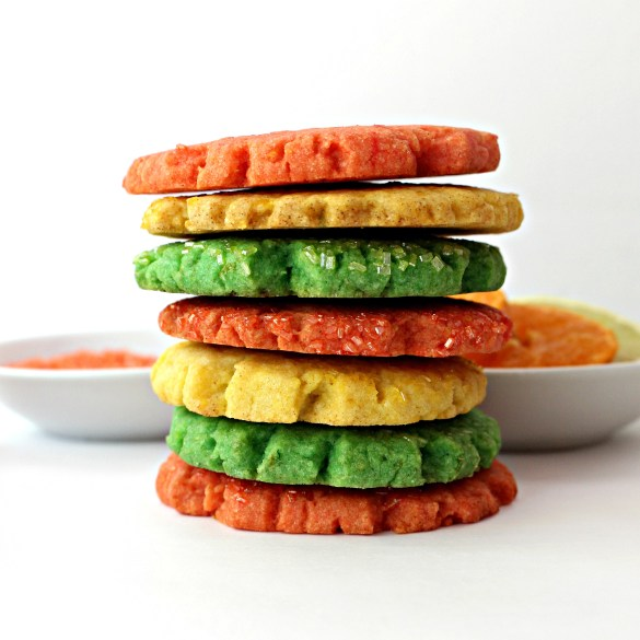 stack of yellow , green, and orange Mexican Sugar Cookies