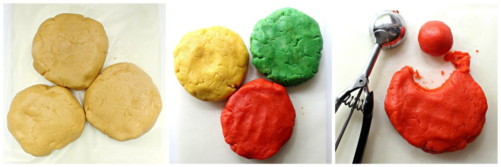 plain dough in 3 pieces, dough colored yellow/green/ orange, dough being scooped into balls