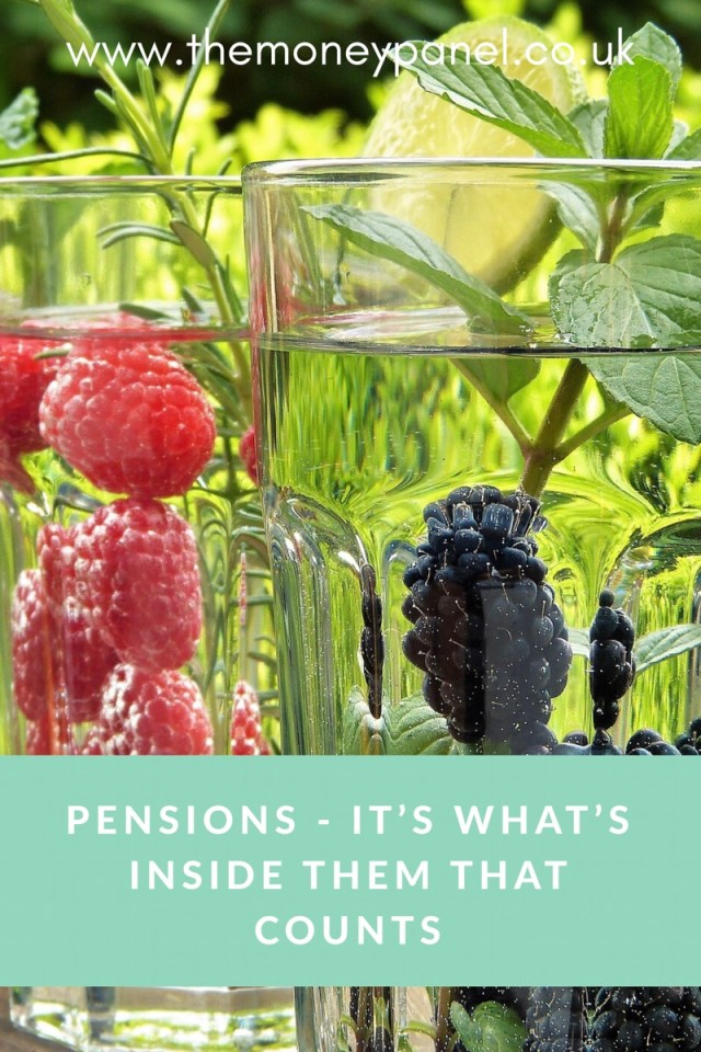 pin with fruit in water and text 'pensions - it's what's inside them that counts'