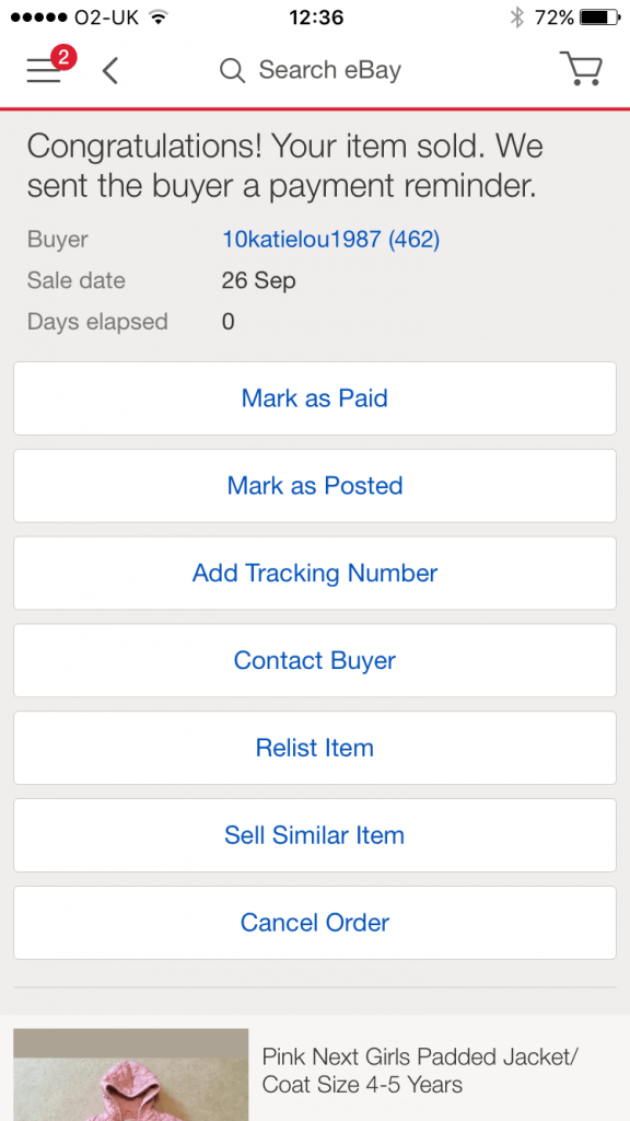 I sold my stuff on eBay