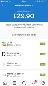 My Quidco balance with Zeek withdrawal credit