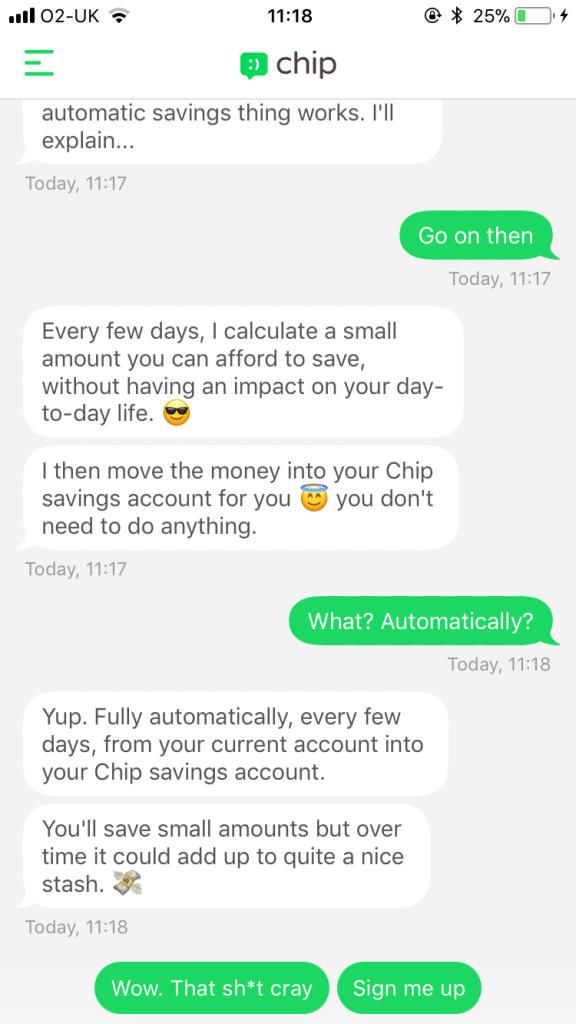 Screen shot of Chip interactive chat bot having a conversation