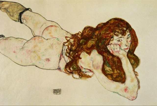 Egon-Schiele-Female-Nude-on-Her-Stomach-1917