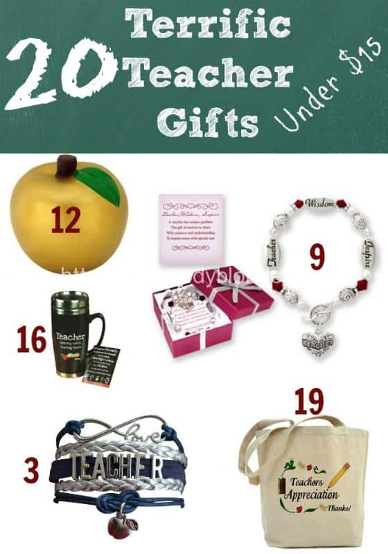 Collage of different gift ideas for teachers