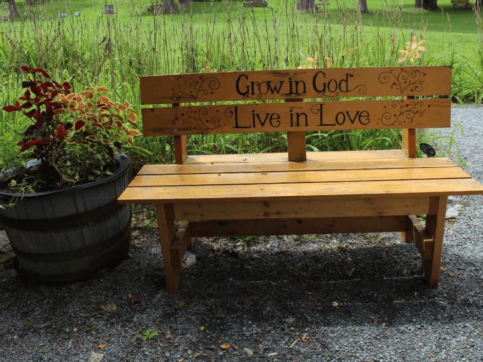 Bench in Schoharie NY Memorial Garden at Fox Creek Bridge