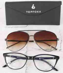 Topfoxx Bluelight glasses and sunglasses with case