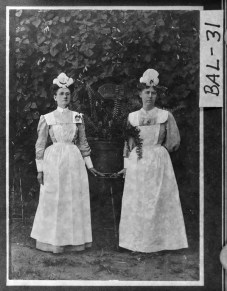 Milledgeville, ca. 1894. Two nurses in uniform pose for a photograph at State Lunatic Asylum, now known as Central State Hospital.