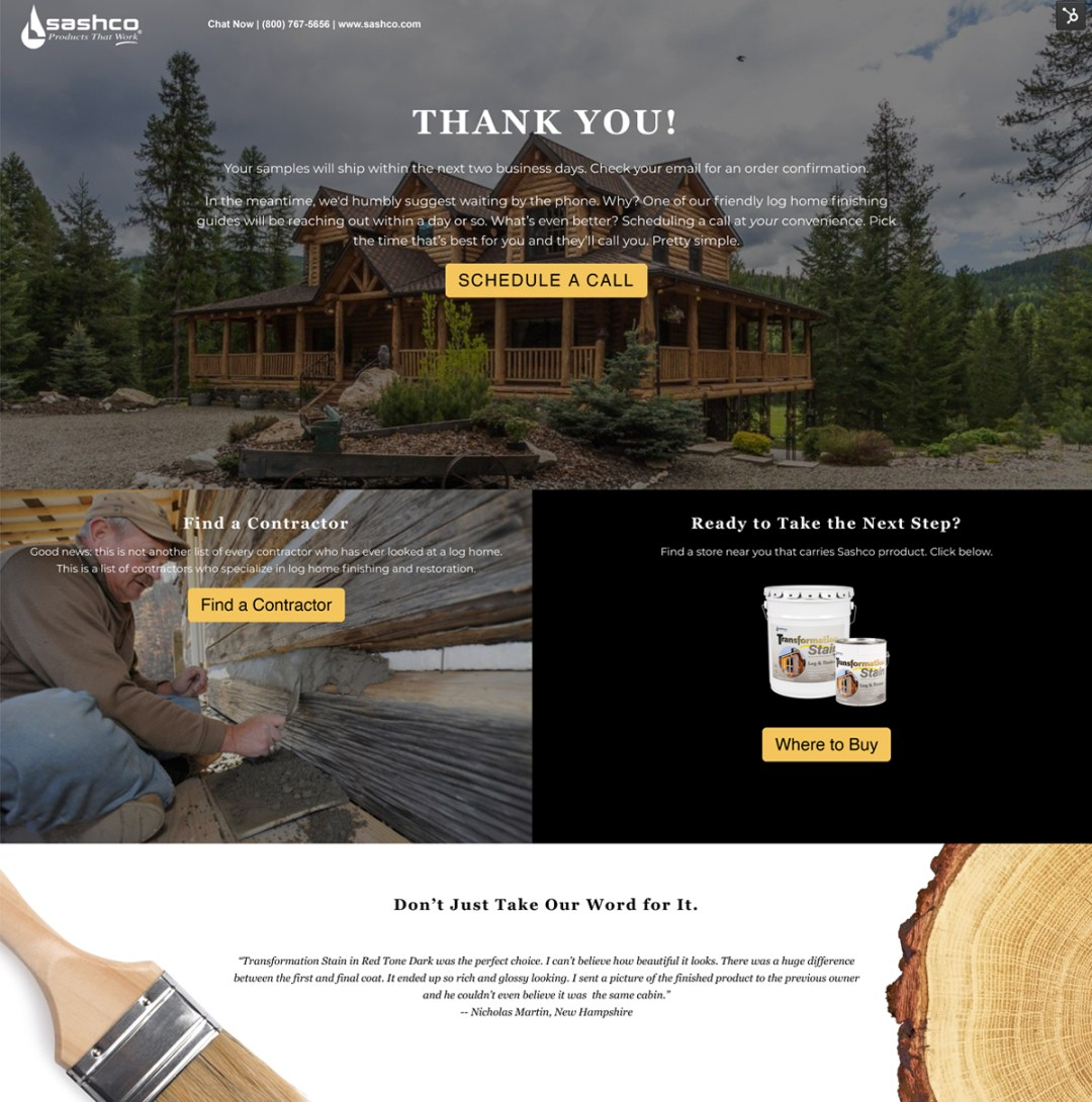 Sashco Transformation Log and Timber Stain Thank You Landing Page
