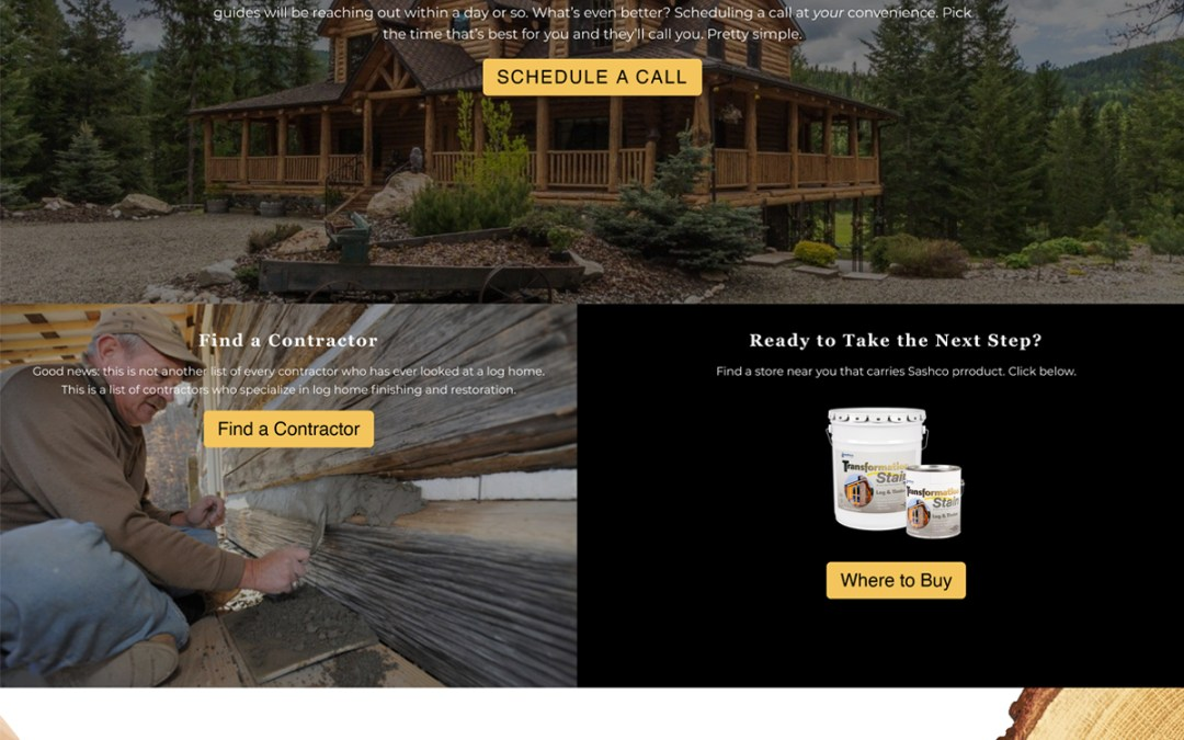 Transformation Log & Timber Stain Landing Pages