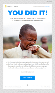 Charity Water Digital Marketing Campaign Example Email