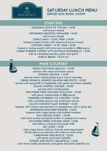 The Moorings Saturday Menu