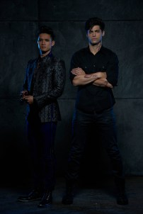 "SHADOWHUNTERS - ABC Family's ""Shadowhunters"" stars Harry Shum Jr. as Magnus Bane and Matthew Daddario as Alec Lightwood. (ABC Family/Bob D'Amico)"