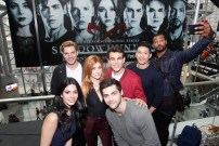 """SHADOWHUNTERS - The cast and producers of Freeform's """"Shadowhunters,"""" are featured at the COMIC CON Convention at the Jacob Javits Center in New York City on October 8, 2016. (ABC/Lou Rocco) EMERAUDE TOUBIA, DOMINIC SHERWOOD, KATHERINE MCNAMARA, MATTHEW DADDARIO, ALBERTO ROSENDE, ISAIAH MUSTAFA"""