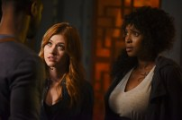 "SHADOWHUNTERS - ""How Are Thou Fallen"" - Clary and Luke find themselves at odds over Cleo in ""How Are Thou Fallen,"" an all new episode of ""Shadowhunters,"" airing MONDAY, FEBRUARY 13 (8:00 – 9:00 PM EDT) on Freeform. (Freeform/John Medland) KATHERINE MCNAMARA, LISA BERRY"