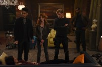 "SHADOWHUNTERS - ""By The Light Of Dawn"" - Valentine's plan is in full effect and the Shadowhunters must act fast to save the Downworld in ""By the Light of Dawn,"" the spring finale of ""Shadowhunters,"" airing MONDAY, MARCH 6 (8:00 – 9:01 p.m. EST), on Freeform. (Freeform/John Medland) HARRY SHUM JR., KATHERINE MCNAMARA, DOMINIC SHERWOOD, ISAIAH MUSTAFA"
