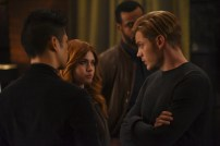 "SHADOWHUNTERS - ""By The Light Of Dawn"" - Valentine's plan is in full effect and the Shadowhunters must act fast to save the Downworld in ""By the Light of Dawn,"" the spring finale of ""Shadowhunters,"" airing MONDAY, MARCH 6 (8:00 – 9:01 p.m. EST), on Freeform. (Freeform/John Medland) KATHERINE MCNAMARA, DOMINIC SHERWOOD"