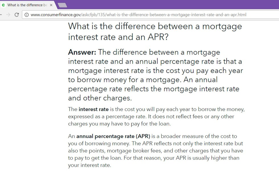 CFPB explains interest rate vs apr