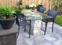 Backyard Reno Stone And Glass-top Patio Table