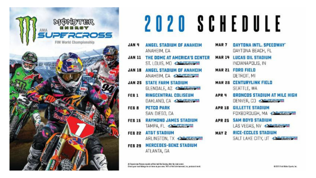 Monster Energy Supercross 2020 Race Schedule Announced The Moto Pages