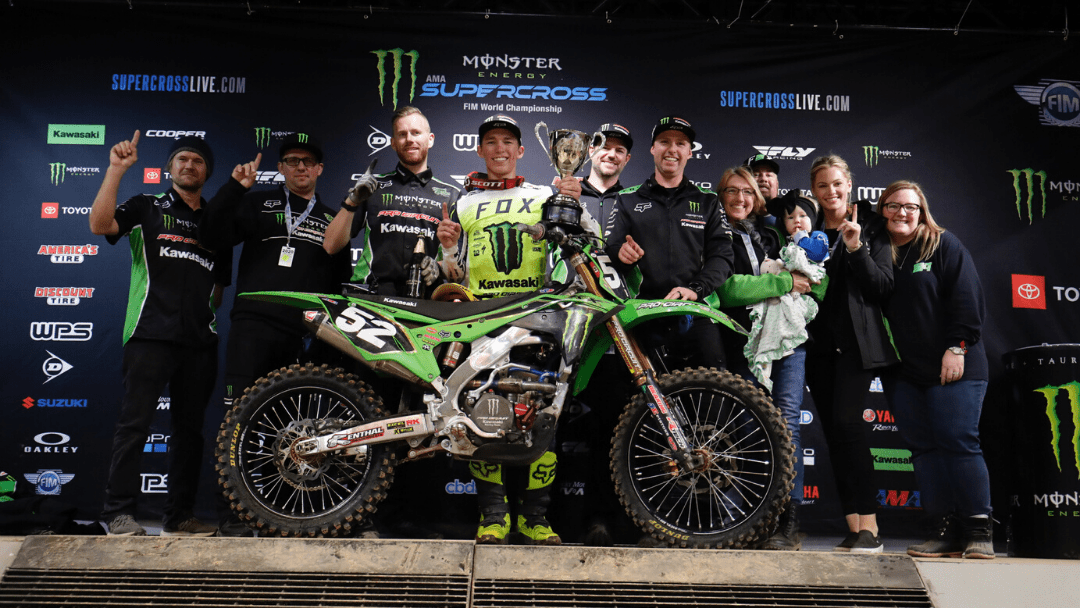 MONSTER ENERGY®/PRO CIRCUIT/KAWASAKI RIDER AUSTIN FORKNER CAPTURES FIRST 250SX WIN OF THE SEASON IN FRONT OF HOMETOWN CROWD