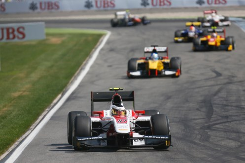 Vandoorne led Palmer for much of the race. © Sam Bloxham/GP2 Series Media Service.