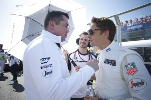 """Boullier (left) knows a tough year is ahead."" © McLaren-Honda Formula 1 Team."