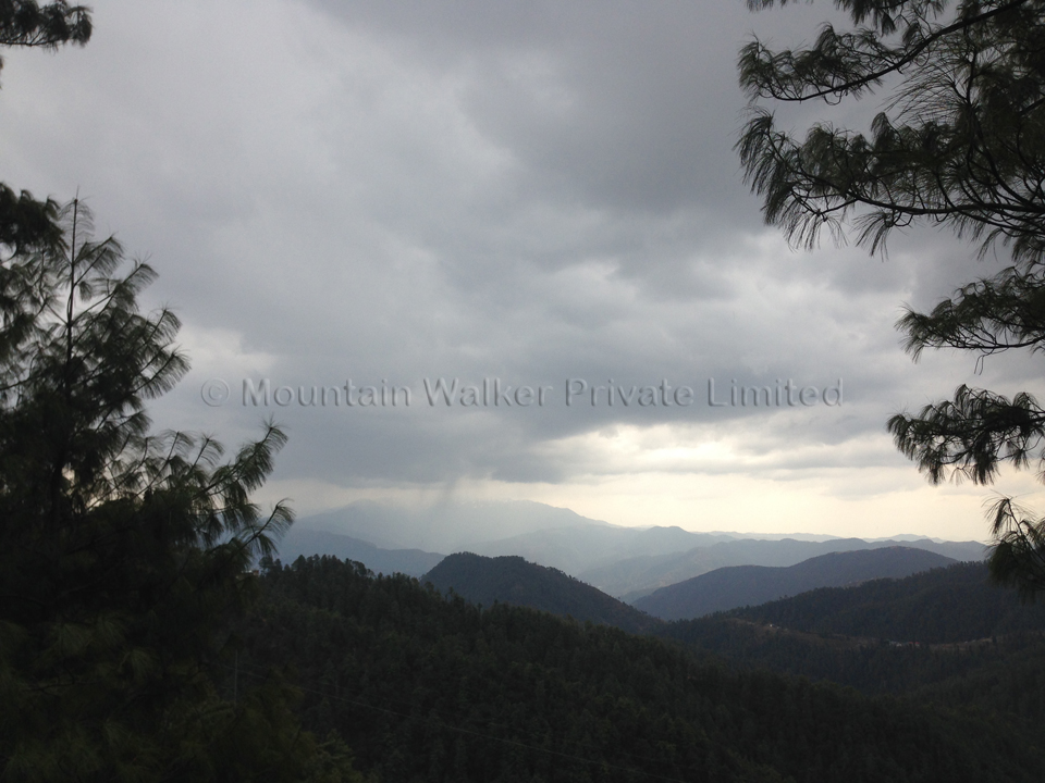 Rain (maybe snow) storm over the Churdhaar mountains, view from the Kufri to Chail road; Photo: sanjay mukherjee