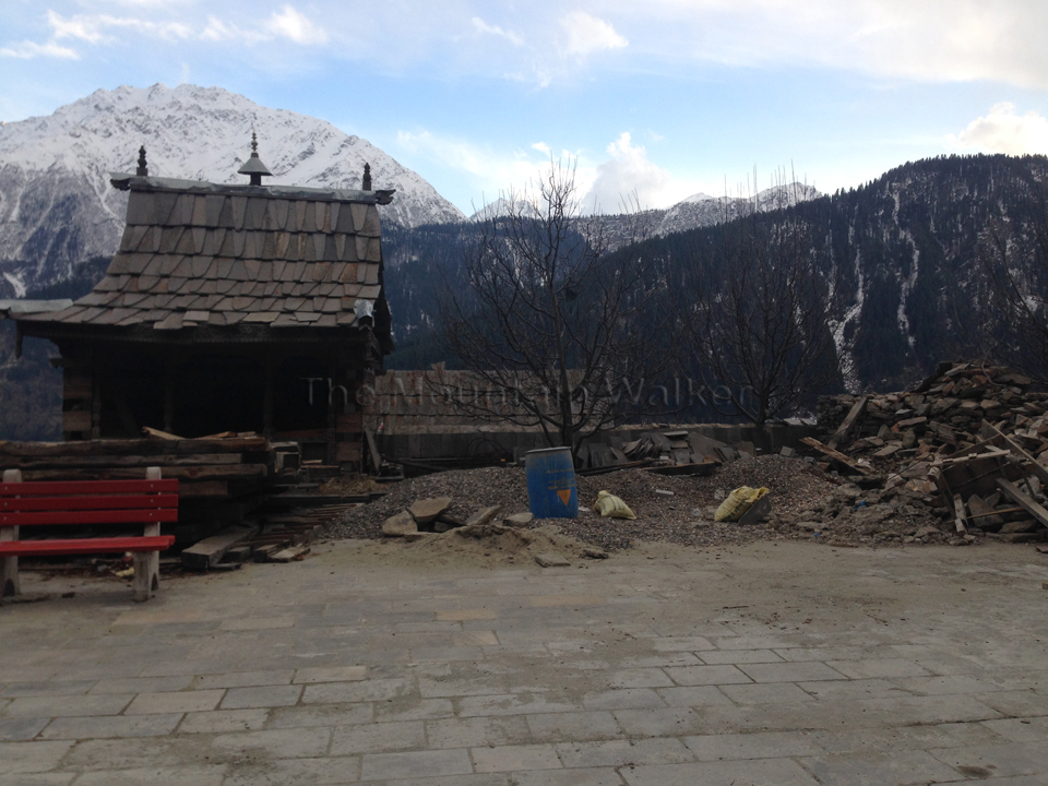 View of the mountains from the main courtyard of the Kamru Fort.