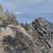 "Sanjay revisits the ""ledge with a history"" on the way to Shaali Tibba (Peak)"