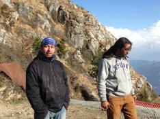 Abhishek and Ameen enjoying the warmth of the sun at Shaali Tibba (Peak) after a wet climb
