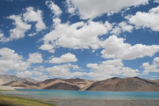 Combination of cloud cover and blue skies casting colour shades at Pangong Tso; Photo: Abhishek Kaushal