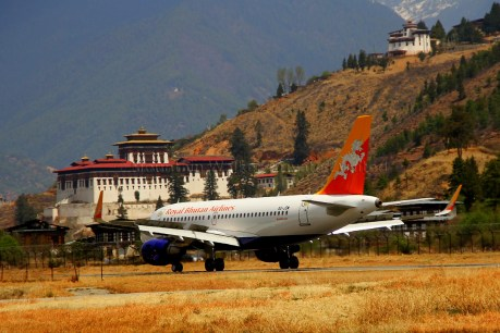 Paro airport is one of the most picturesque airports in the world. Photo: Kaushik Naik