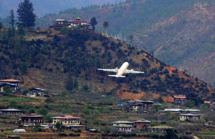 Considered one of the most dangerous airports in the world, flights to and from Paro are restricted to daylight hours. Photo: Kaushik Naik