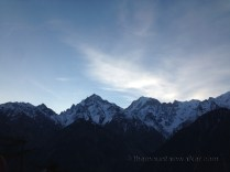 First traces of sunrise across the Kinner Kailash range: view from Inner Thukpa hotel near Kalpa; Photo: sanjay mukherjee