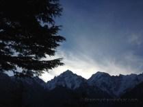 Cosmic play as the sun rises across the Kinner Kailash range: view from Inner Thukpa hotel near Kalpa; Photo: sanjay mukherjee
