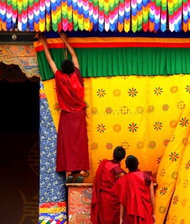 With a week to go before the arrival of the King at Punakha Dzong, the monks get busy with preparations; Photo: Kaushik Naik