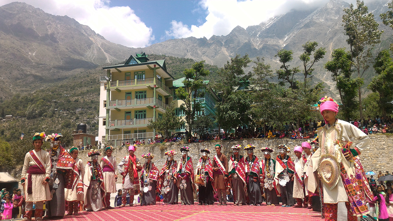 Boys and girls lined up for the Traditional Fashion Show at the Sangla Summer Festival; Photo: Abhinav Kaushal.